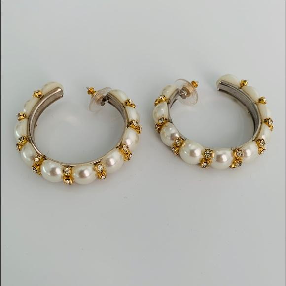 Monet Pearl Hoop Earrings